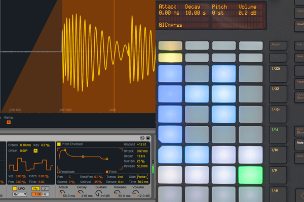 Collage of Ableton Live and Push