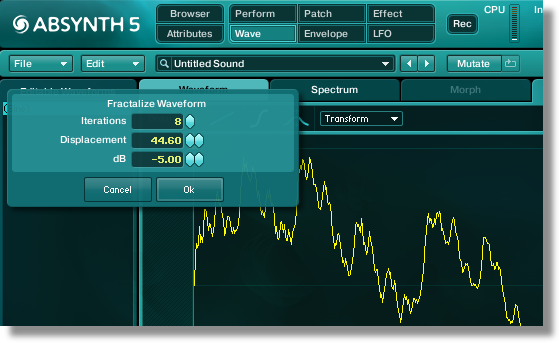 Fractalize processing in the Absynth Wave Window