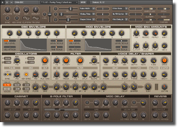 Reaktor CHA-OSC synthesizer